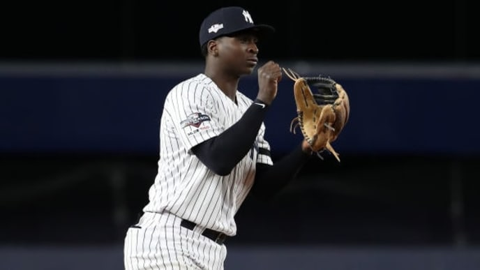 NEW YORK, NEW YORK - OCTOBER 05: Didi Gregorius #18 of the New York Yankees celebrates their 8-2 win over the Minnesota Twins in game two of the American League Division Series at Yankee Stadium on October 05, 2019 in New York City. (Photo by Al Bello/Getty Images)