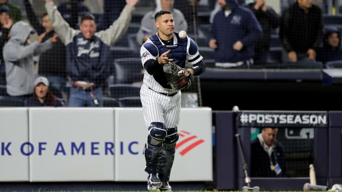 NEW YORK, NEW YORK - OCTOBER 04: Gary Sanchez #24 of the New York Yankees celebrates after defeating the Minnesota Twins in game one of the American League Division Series with a score of 10 to 4 at Yankee Stadium on October 04, 2019 in New York City. (Photo by Elsa/Getty Images)