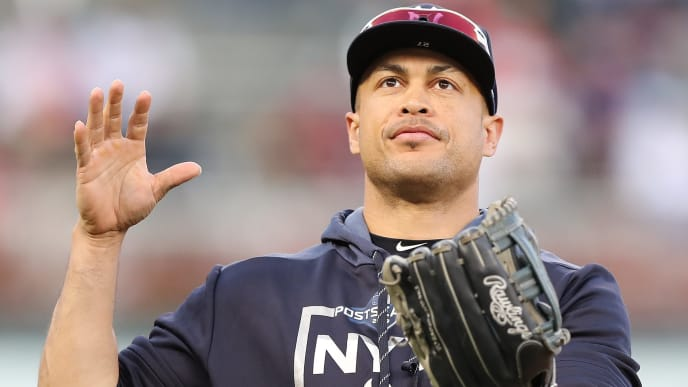 MINNEAPOLIS, MINNESOTA - OCTOBER 07: Giancarlo Stanton #27 of the New York Yankees looks on during batting practice prior to game three of the American League Division Series against the Minnesota Twins at Target Field on October 07, 2019 in Minneapolis, Minnesota. (Photo by Elsa/Getty Images)
