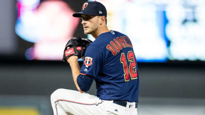 MINNEAPOLIS, MN - OCTOBER 07: Jake Odorizzi #12 of the Minnesota Twins pitches against the New York Yankees on October 7, 2019 in game three of the American League Division Series at the Target Field in Minneapolis, Minnesota. (Photo by Brace Hemmelgarn/Minnesota Twins/Getty Images)