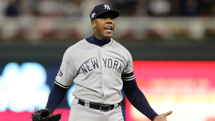 MINNEAPOLIS, MINNESOTA - OCTOBER 07: Aroldis Chapman #54 of the New York Yankees celebrates after the final out defeating the Minnesota Twins 5-1 in game three of the American League Division Series to advance to the American League Championship Series at Target Field on October 07, 2019 in Minneapolis, Minnesota. (Photo by Elsa/Getty Images)