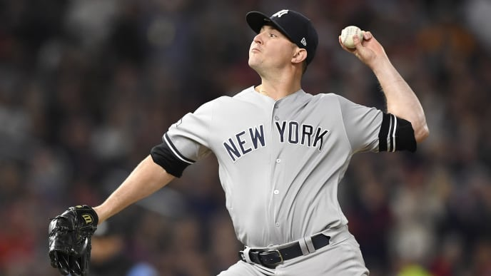 MINNEAPOLIS, MINNESOTA - OCTOBER 07: Zack Britton #53 of the New York Yankees throws a pitch in the seventh inning in game three of the American League Division Series against the Minnesota Twins at Target Field on October 07, 2019 in Minneapolis, Minnesota. (Photo by Hannah Foslien/Getty Images)