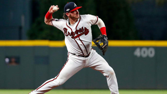 ATLANTA, GEORGIA - OCTOBER 03:  Josh Donaldson #20 of the Atlanta Braves throws out the runner against the St. Louis Cardinals during the eighth inning in game one of the National League Division Series at SunTrust Park on October 03, 2019 in Atlanta, Georgia. (Photo by Kevin C. Cox/Getty Images)