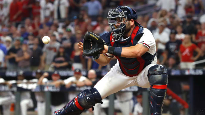 ATLANTA, GEORGIA - OCTOBER 03:  Francisco Cervelli #45 of the Atlanta Braves prepares to tag out Kolten Wong (not pictured) of the St. Louis Cardinals as he attempts to score a run during the eighth inning in game one of the National League Division Series at SunTrust Park on October 03, 2019 in Atlanta, Georgia. (Photo by Kevin C. Cox/Getty Images)