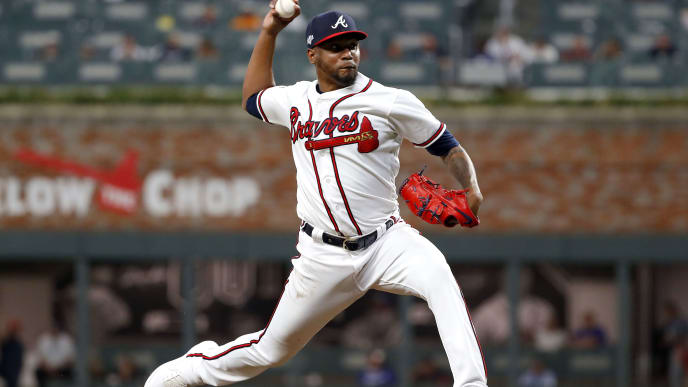 ATLANTA, GEORGIA - OCTOBER 09:  Julio Teheran #49 of the Atlanta Braves delivers the pitch against the St. Louis Cardinals during the ninth inning in game five of the National League Division Series at SunTrust Park on October 09, 2019 in Atlanta, Georgia. (Photo by Kevin C. Cox/Getty Images)