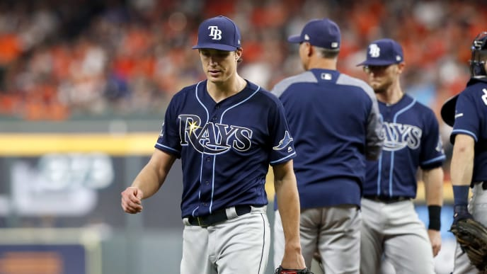 HOUSTON, TEXAS - OCTOBER 10:  Tyler Glasnow #20 of the Tampa Bay Rays is taken out of the game by manager Kevin Cash #16 against the Houston Astros during the third inning in game five of the American League Division Series at Minute Maid Park on October 10, 2019 in Houston, Texas. (Photo by Tim Warner/Getty Images)