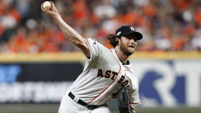 HOUSTON, TEXAS - OCTOBER 05:  Gerrit Cole #45 of the Houston Astros pitches in the eighth inning of Game 2 of the ALDS against the Tampa Bay Rays at Minute Maid Park on October 05, 2019 in Houston, Texas. (Photo by Tim Warner/Getty Images)