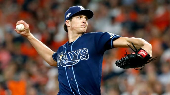 HOUSTON, TEXAS - OCTOBER 10:  Tyler Glasnow #20 of the Tampa Bay Rays delivers the pitch against the Houston Astros during the second inning in game five of the American League Division Series at Minute Maid Park on October 10, 2019 in Houston, Texas. (Photo by Tim Warner/Getty Images)