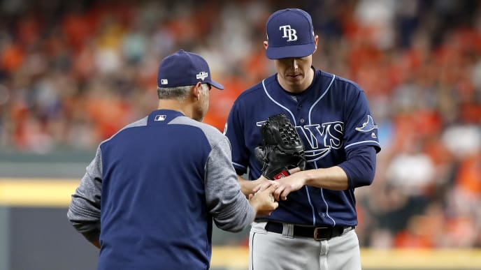HOUSTON, TEXAS - OCTOBER 10:  Ryan Yarbrough #48 of the Tampa Bay Rays is taken out of the game by manager Kevin Cash #16 against the Houston Astros during the fifth inning in game five of the American League Division Series at Minute Maid Park on October 10, 2019 in Houston, Texas. (Photo by Tim Warner/Getty Images)