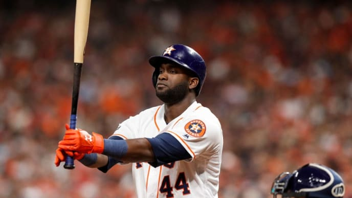 HOUSTON, TX - OCTOBER 10:  Yordan Alvarez #44 of the Houston Astros steps to the plate in the eighth inning against the Tampa Bay Rays at Minute Maid Park on October 10, 2019 in Houston, Texas.  (Photo by Tim Warner/Getty Images)