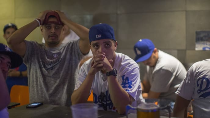Dodgers Fans Cheer On Their Team As World Series Goes To Game Seven