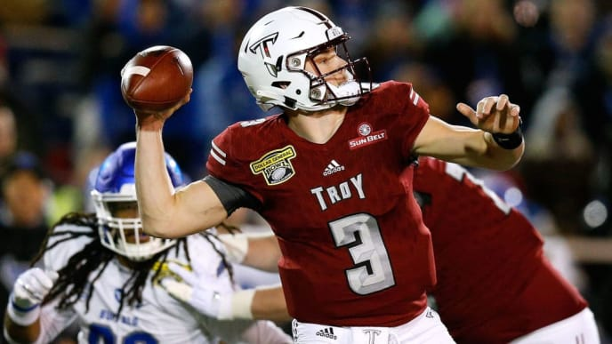 MOBILE, ALABAMA - DECEMBER 22: Sawyer Smith #3 of the Troy Trojans throws the ball for a touchdown during the first half of the Dollar General Bowl against the Buffalo Bulls on December 22, 2018 in Mobile, Alabama. (Photo by Jonathan Bachman/Getty Images)