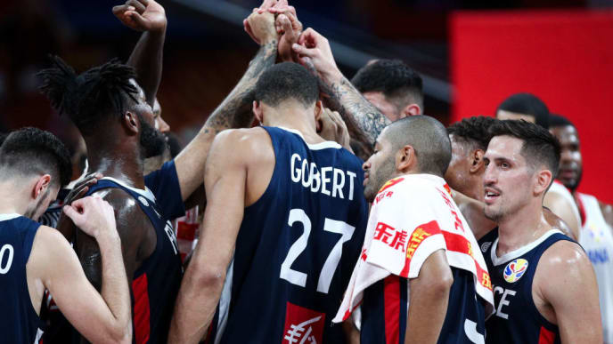 SHENZHEN, CHINA - SEPTEMBER 05: Players of the France National Team react after winning the match against the Dominican Republic National Team during the 1st round of 2019 FIBA World Cup at Shenzhen Bay Sports Center on September 05, 2019 in Shenzhen, China. (Photo by Zhong Zhi/Getty Images)