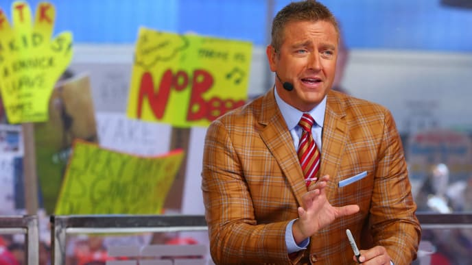 NEW YORK, NY - SEPTEMBER 23:  GameDay host Kirk Herbstreit is seen during ESPN's College GameDay show at Times Square on September 23, 2017 in New York City.  (Photo by Mike Stobe/Getty Images)