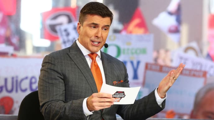 NEW YORK, NY - SEPTEMBER 23:  ESPN's College GameDay Analyst Chris Fowler speaks during ESPN's College GameDay show at Times Square on September 23, 2017 in New York City.  (Photo by Mike Stobe/Getty Images)
