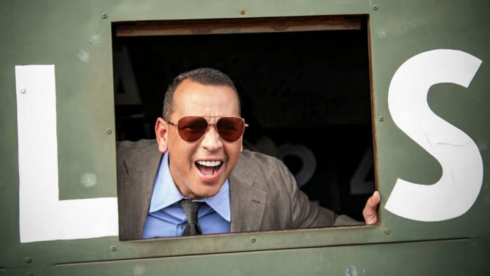 BOSTON, MA - SEPTEMBER 8: ESPN Sunday Night Baseball color commentator Alex Rodriguez poses from inside the Green Monster before a game between the Boston Red Sox and the New York Yankees on September 8, 2019 at Fenway Park in Boston, Massachusetts. (Photo by Billie Weiss/Boston Red Sox/Getty Images)