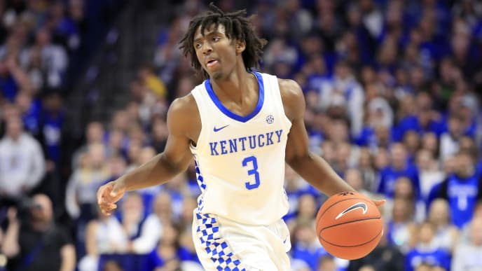 LEXINGTON, KENTUCKY - NOVEMBER 08: Tyrese Maxey #3 of the Kentucky Wildcats dribbles the ball in the game against the Eastern Kentucky Colonels at Rupp Arena on November 08, 2019 in Lexington, Kentucky. (Photo by Andy Lyons/Getty Images)