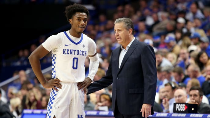LEXINGTON, KENTUCKY - NOVEMBER 08:   John Calipari the head coach of the Kentucky Wildcats gives instructions to Ashton Hagans #0 in the game against the Eastern Kentucky Colonels at Rupp Arena on November 08, 2019 in Lexington, Kentucky. (Photo by Andy Lyons/Getty Images)