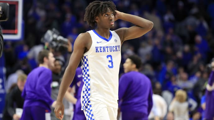 LEXINGTON, KENTUCKY - NOVEMBER 12:   Tyrese Maxey #3 of the Kentucky Wildcats walks off of the court after the 67-64 loss to the Evansville Aces at Rupp Arena on November 12, 2019 in Lexington, Kentucky. (Photo by Andy Lyons/Getty Images)