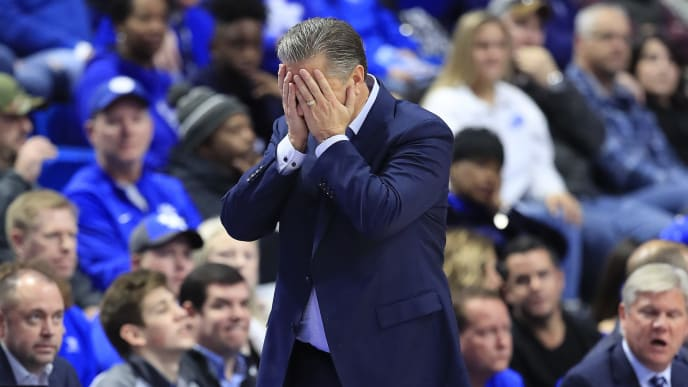 LEXINGTON, KENTUCKY - NOVEMBER 12:   John Calipari the head coach of the Kentucky Wildcats reacts to a mistake by his team in the first half in the game against the Evansville Aces at Rupp Arena on November 12, 2019 in Lexington, Kentucky. (Photo by Andy Lyons/Getty Images)