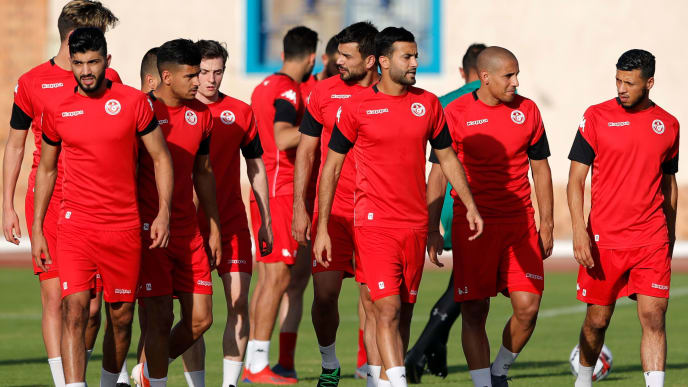 Tunisia's players take part in a training session at the Petrojet Club Training Field on June 27, 2019, on the eve of the 2019 Africa Cup of Nations (CAN) football match between Tunisia and Mali. (Photo by FADEL SENNA / AFP)        (Photo credit should read FADEL SENNA/AFP/Getty Images)