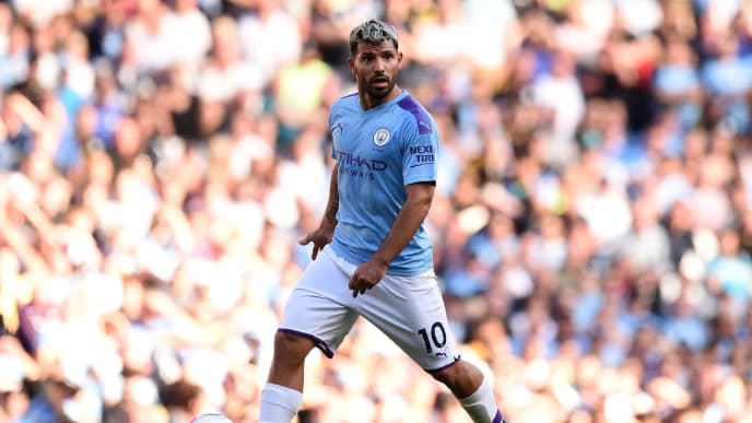 Manchester City's Argentinian striker Sergio Aguero controls the ball during the English Premier League football match between Manchester City and Watford at the Etihad Stadium in Manchester, north west England, on September 21, 2019. (Photo by Oli SCARFF / AFP) / RESTRICTED TO EDITORIAL USE. No use with unauthorized audio, video, data, fixture lists, club/league logos or 'live' services. Online in-match use limited to 120 images. An additional 40 images may be used in extra time. No video emulation. Social media in-match use limited to 120 images. An additional 40 images may be used in extra time. No use in betting publications, games or single club/league/player publications. /         (Photo credit should read OLI SCARFF/AFP/Getty Images)
