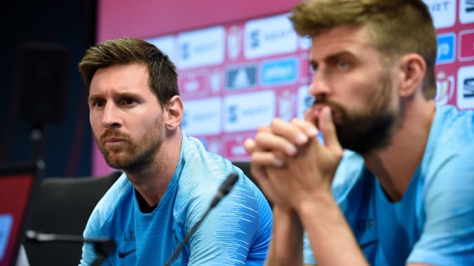 Barcelona's Argentinian forward Lionel Messi and Barcelona's Spanish defender Gerard Pique hold a press conference at the Joan Gamper Sports City in Sant Joan Despi near Barcelona on May 24, 2019 on the eve of the 2019 Copa del Rey (King's Cup) final football match between Barcelona and Valencia. (Photo by Josep LAGO / AFP)        (Photo credit should read JOSEP LAGO/AFP/Getty Images)