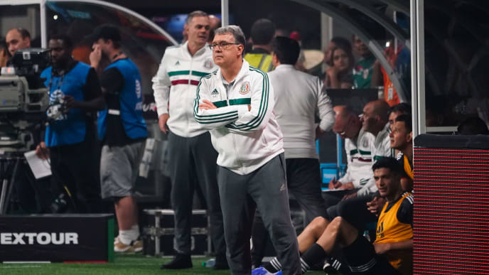Mexico's coach Gerardo Martino reacts during the international friendly match between Venezuela and Mexico at Mercedes-Benz Stadium in Atlanta, Georgia, on June 5, 2019. (Photo by Elijah Nouvelage / AFP)        (Photo credit should read ELIJAH NOUVELAGE/AFP/Getty Images)