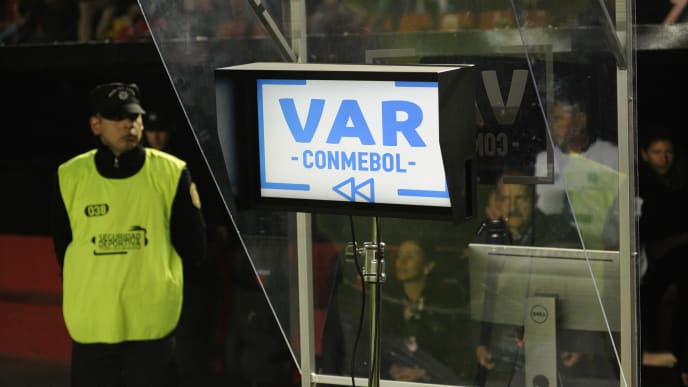 View of the VAR screen during the Copa Sudamericana last 16 football match at the Brigadier Gral Estanislao Lopez stadium in Santa Fe, 470 km northwest of Buenos Aires, Argentina on July 11, 2019. (Photo by MARCELO MANERA / AFP)        (Photo credit should read MARCELO MANERA/AFP/Getty Images)