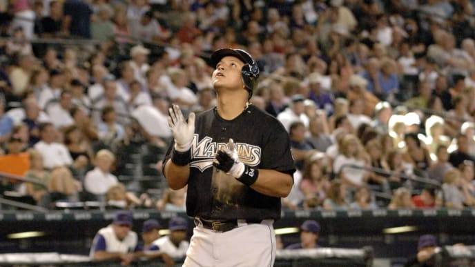 Florida Marlins third baseman Miguel Cabrera after  a home run against the Arizona Diamondbacks August 13, 2006 in Phoenix.  The Marlins won 6 - 5. (Photo by A. Messerschmidt/Getty Images)