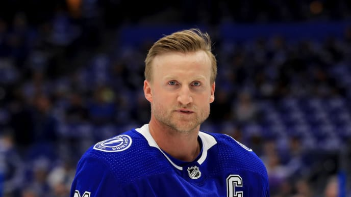 TAMPA, FLORIDA - OCTOBER 03: Steven Stamkos #91 of the Tampa Bay Lightning warms up during the home opener against the Florida Panthers at Amalie Arena on October 03, 2019 in Tampa, Florida. (Photo by Mike Ehrmann/Getty Images)