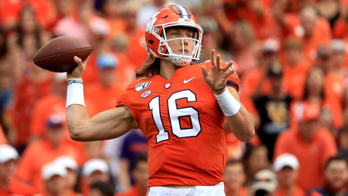 CLEMSON, SOUTH CAROLINA - OCTOBER 12: Trevor Lawrence #16 of the Clemson Tigers drops back to pass againstthe Florida State Seminoles during their game at Memorial Stadium on October 12, 2019 in Clemson, South Carolina. (Photo by Streeter Lecka/Getty Images)