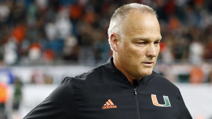 MIAMI GARDENS, FL - SEPTEMBER 26: Head coach Mark Richt of the Miami Hurricanes exits the field after the game against the Florida State Seminoles on September 26, 2018 at Hard Rock Stadium in Miami Gardens, Florida. Miami defeated Florida State 28-27. (Photo by Joel Auerbach/Getty Images)