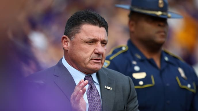 BATON ROUGE, LOUISIANA - OCTOBER 12: Head coach Ed Orgeron of the LSU Tigers arrives at Tiger Stadium ahead of the game against the Florida Gators on October 12, 2019 in Baton Rouge, Louisiana. (Photo by Marianna Massey/Getty Images)