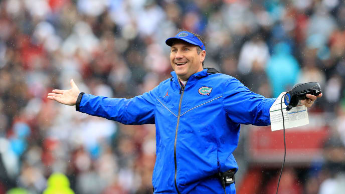 COLUMBIA, SOUTH CAROLINA - OCTOBER 19: Head coach Dan Mullen of the Florida Gators reacts during their game against the South Carolina Gamecocks at Williams-Brice Stadium on October 19, 2019 in Columbia, South Carolina. (Photo by Streeter Lecka/Getty Images)