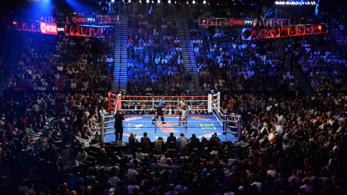 LAS VEGAS, NV - SEPTEMBER 12:  A general view of Floyd Mayweather Jr. and Andre Berto during their WBC/WBA welterweight title fight at MGM Grand Garden Arena on September 12, 2015 in Las Vegas, Nevada.  (Photo by Ethan Miller/Getty Images)