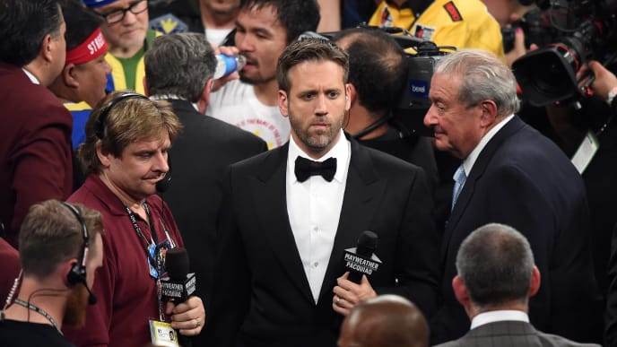 LAS VEGAS, NV - MAY 02:  Broadcaster Max Kellerman stands in the ring after Floyd Mayweather Jr. defeats Manny Pacquiao by unanimous decision in their welterweight unification championship bout on May 2, 2015 at MGM Grand Garden Arena in Las Vegas, Nevada.  (Photo by Harry How/Getty Images)