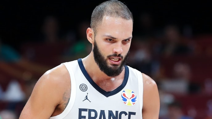 BEIJING, CHINA - SEPTEMBER 15:  Evan Fournier #10 celebrate a score during the 3rd place game of 2019 FIBA World Cup match between France and Australia at Beijing Wukesong Sport Arena on September 15, 2019 in Beijing, China.  (Photo by Lintao Zhang/Getty Images)