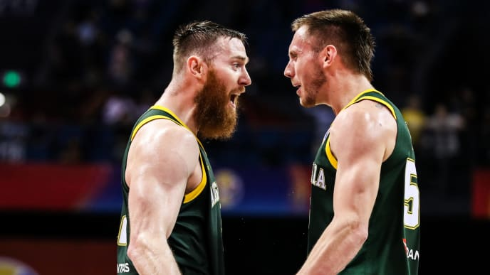 NANJING, CHINA - SEPTEMBER 09: Aron Baynes(L) #12 and Mitch Creek #55 of Australia celebrate the victory during 2nd round Group L match between Australia and France of 2019 FIBA World Cup at Nanjing Youth Olympic Sports Park Gymnasium on September 09, 2019 in Nanjing, China. (Photo by Shi Tang/Getty Images)