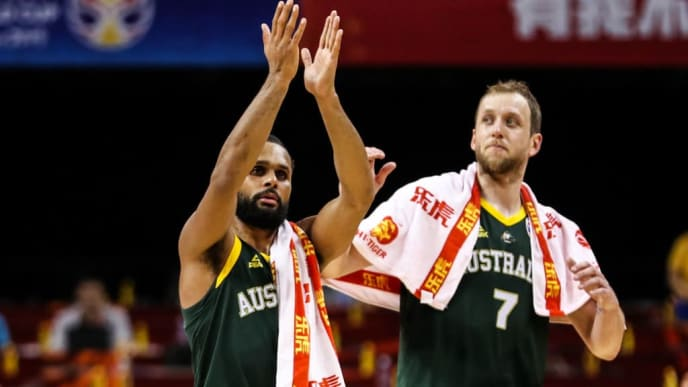 NANJING, CHINA - SEPTEMBER 09: Patty Mills(L) #5 of Australia greets the audience after the match during 2nd round Group L match between Australia and France of 2019 FIBA World Cup at Nanjing Youth Olympic Sports Park Gymnasium on September 09, 2019 in Nanjing, China. (Photo by Shi Tang/Getty Images)