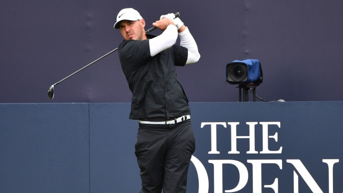 US golfer Brooks Koepka tees off from the first hole during a practice session at The 148th Open golf Championship at Royal Portrush golf club in Northern Ireland on July 17, 2019. (Photo by Paul ELLIS / AFP) / RESTRICTED TO EDITORIAL USE        (Photo credit should read PAUL ELLIS/AFP/Getty Images)