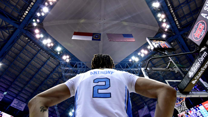 CHAPEL HILL, NORTH CAROLINA - NOVEMBER 15: Cole Anthony #2 of the North Carolina Tar Heels waits to inbound the ball during the first half of their game against the Gardner-Webb Runnin Bulldogs at the Dean Smith Center on November 15, 2019 in Chapel Hill, North Carolina. (Photo by Grant Halverson/Getty Images)