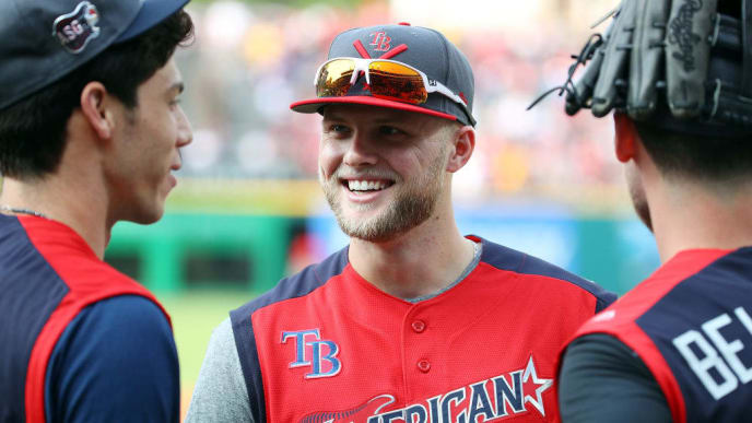 CLEVELAND, OHIO - JULY 08: Austin Meadows of the Tampa Bay Rays and the American League looks on during Gatorade All-Star Workout Day at Progressive Field on July 08, 2019 in Cleveland, Ohio. (Photo by Gregory Shamus/Getty Images)