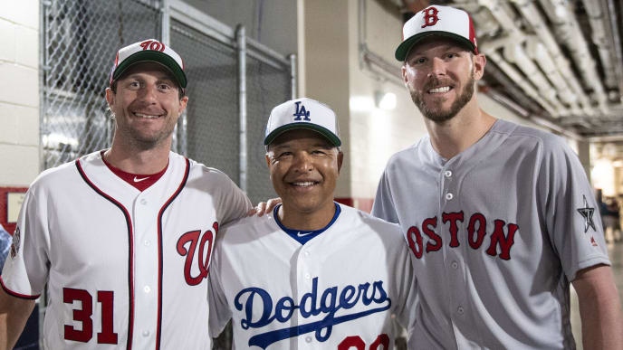 WASHINGTON, DC - JULY 16: Max Scherzer #31 of the Washington Nationals, Manager Dave Roberts of the Los Angeles Dodgers and Chris Sale #41 of the Boston Red Sox pose for a photograph during All-Star Workout Day at Nationals Park Monday, July 16, 2018 in Washington, DC. (Photo by Billie Weiss/Boston Red Sox/Getty Images)
