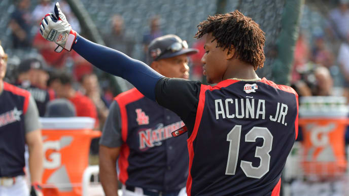 CLEVELAND, OHIO - JULY 08: Ronald Acuna Jr. of the Atlanta Braves and the National League looks on during Gatorade All-Star Workout Day at Progressive Field on July 08, 2019 in Cleveland, Ohio. (Photo by Jason Miller/Getty Images)
