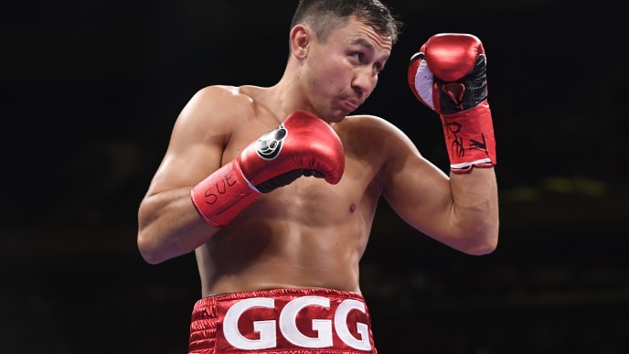 NEW YORK, NEW YORK - JUNE 08: Gennady Golovkin of Kazakhstan warms up for his fight against Steve Rolls of Canada before their Super Middleweights fight at Madison Square Garden on June 08, 2019 in New York City. (Photo by Sarah Stier/Getty Images)