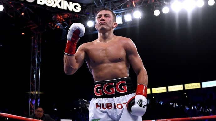 CARSON, CA - MAY 05:  Gennady Golovkin reacts after a second round knockout of Vanes Martirosyan during the WBC-WBA Middleweight Championship at StubHub Center on May 5, 2018 in Carson, California.  (Photo by Harry How/Getty Images)