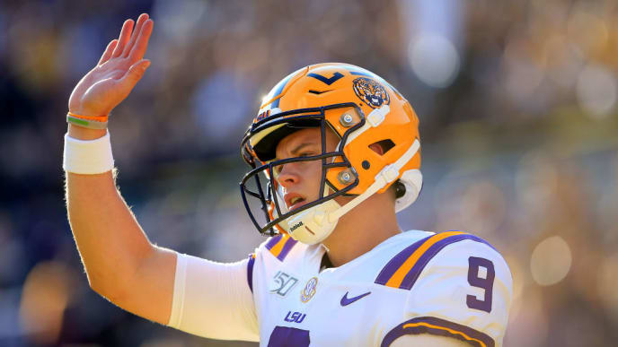 BATON ROUGE, LOUISIANA - AUGUST 31: Quarterback Joe Burrow #9 of the LSU Tigers warms up prior to the game against the Georgia Southern Eagles at Tiger Stadium on August 31, 2019 in Baton Rouge, Louisiana. (Photo by Marianna Massey/Getty Images)