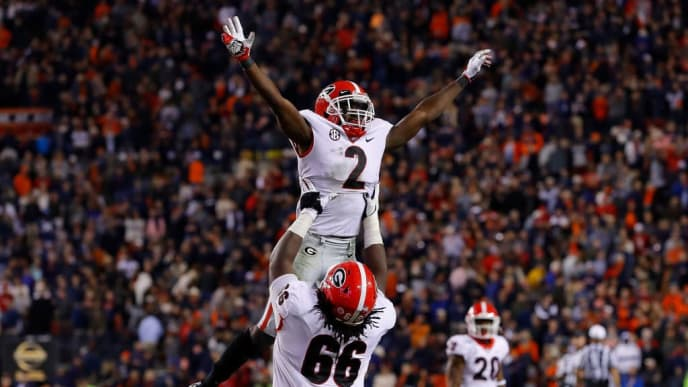 AUBURN, ALABAMA - NOVEMBER 16:  Richard LeCounte #2 of the Georgia Bulldogs reacts after a defensive stop on fourth down in the final seconds to secure a 21-14 win over the Auburn Tigers at Jordan-Hare Stadium on November 16, 2019 in Auburn, Alabama. (Photo by Kevin C. Cox/Getty Images)
