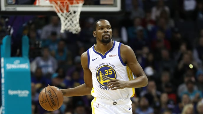 CHARLOTTE, NORTH CAROLINA - FEBRUARY 25: Kevin Durant #35 of the Golden State Warriors during their game against the Charlotte Hornets at Spectrum Center on February 25, 2019 in Charlotte, North Carolina. NOTE TO USER: User expressly acknowledges and agrees that, by downloading and or using this photograph, User is consenting to the terms and conditions of the Getty Images License Agreement. (Photo by Streeter Lecka/Getty Images)